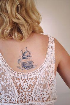 Delfts Blue ship tattoo
