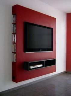 Mueble Panel Lcd / Tv / Led - Modular - Mesa De Tv Would definitely do a different color, but love this Powerful Cool Ideas: Floating Shelves Living Room Around Tv floating shelf display photo ledge.Floating Shelf Tv Stand Ideas floating shelves un Panel Lcd, Led Panel, Rack Tv, Floating Cabinets, Rustic Floating Shelves, Wood Shelves, Desk Shelves, Makeup Shelves, Shelf Nightstand