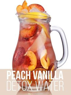 """peach vanilla detox water, the happiness booster.. and many MORE... ***Normally, I don't save these """"water"""" recipes.. but blended as juice, they actually have some really nice information, and some really great COMBINATIONS. Infused Water Recipes, Fruit Infused Water, Infused Waters, Water Detox Recipes, Water Infusion Recipes, Flavored Waters, Yummy Drinks, Healthy Drinks, Plat Vegan"""