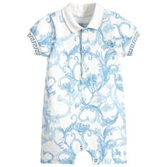 1bd7436c4 Baby boys blue and ivory Baroque print shortie from luxury designer Young  Versace. Made in