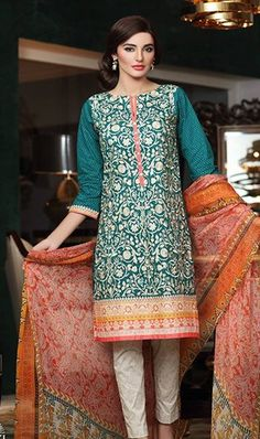 Embroidery Designer 3PC Lawn Suit With Chiffon Dupatta