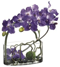 """- Oval Glass Vase with Acrylic """" Water"""". - Size:18""""T x 7""""W x 14""""D - Weight: 10.6 lb - Color: Purple - Item No. FMF-WF1147 Handcrafted silk floral and polyester greenery. Professionally Designed and As"""