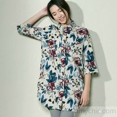 Navy floral women long shirt linen blouse plus size cotton top