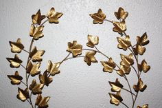 Vintage Gold Metal Maple Leaves Wall Art by QUEENIESECLECTIC, $19.00