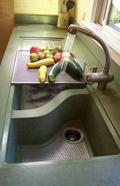 Concrete Countertop and check out these sinks!