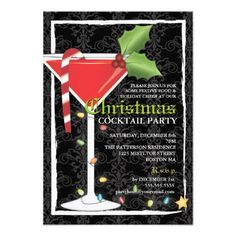 Elegant Red Martini Christmas Cocktail Party Personalized Announcement | Visit the Zazzle Site for More: http://www.zazzle.com/?rf=238228028496470081