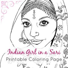 Printable Coloring Sheet | Indian Girl in a Sari PDF& JPEG by IvyLilyArt | Downloadable and printable adult coloring book page of an Indian girl wearing a sari. Click through to the Etsy listing! #portrait #female #ethnic #lineart #bollywood #fashion #jewellery #colouring
