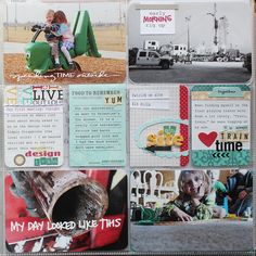 Awesomely scrappy page.  From Mindi.....love the colors on this page and the embies:)