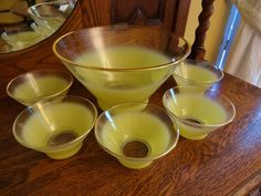 Mid Century Yellow Blendo Salad bowl Set Six Piece Set by West Virginia Glass on Etsy, $37.00 Vintage Bar, Vintage Kitchen, Mid Century Decor, Salad Bowls, West Virginia, Bowl Set, Punch Bowls, Anchor Hocking, Tableware