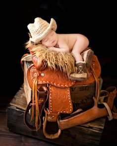 Cowboy Boots and Cowboy Hat, Cowboy baby shower, Brown Cowboy set. $35.50, via Etsy.