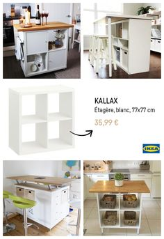 The IKEA Kallax collection Storage furniture is a vital part of any home. Trendy and wonderfully easy the corner Kallax from Ikea , for example. Kitchen Island Ikea Hack, Ikea Kitchen, Kitchen Islands, Ikea Island, Kitchen Banquette, Small Space Kitchen, Small Kitchens, Small Spaces, Kid Spaces