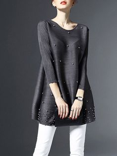 Shop Tunics - Gray Beaded Plain 3/4 Sleeve Crew Neck Tunic online. Discover unique designers fashion at StyleWe.com.