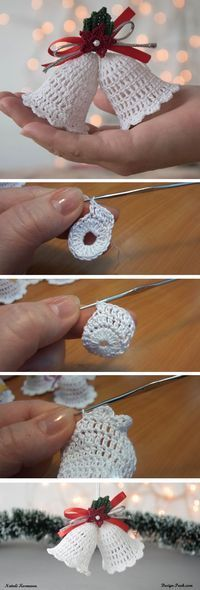 Crochet Christmas Bell – Design Peak Yet another Christmas tutorial is available for our readers. Today we ae going to do number of things. We are going to learn how to crochet a beautiful. Crochet Christmas Decorations, Christmas Crochet Patterns, Crochet Ornaments, Holiday Crochet, Crochet Snowflakes, Crochet Crafts, Yarn Crafts, Crochet Projects, Christmas Crafts
