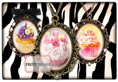 Cupcakes  Two Digital Printable Sheets 40x30mm and by PrintCollage, $3.90 Image Digital, Purse Hanger, Cupcake Images, Clip Art, Wine Charms, Resin Pendant, Printable Paper, Cupcakes, Hang Tags