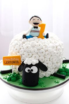 sheep cake by Bake-a-boo Cakes NZ Fancy Cakes, Cute Cakes, Shaun The Sheep Cake, Bake A Boo, Timmy Time, Decoration Patisserie, Cool Birthday Cakes, 26 Birthday, Birthday Ideas