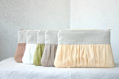 SET of 5 Bridesmaids spring wedding clutch pleated by HelloVioleta, $121.00