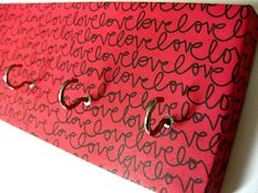 "Love Key Rack Love Jewelry Holder Valentines Day Red and Black Inspirational Jewelry Organizer Anniversary Gift Gift For Her ""LoveLove"""