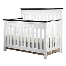 Delta Chalet 4-in-1 Lifetime Crib - White Ambiance/Dark Chocolate
