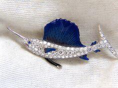 Art Deco Prime Platinum 2.00ct swordfish diamonds brooch Enamel #Unbranded #Pendant