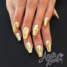 Gold Foil On White Nails - Nail Art Gallery