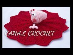 YouTube Crochet Lovey, Love Crochet, Baby Blanket Crochet, Crochet For Kids, Crochet Toys, Pig Blanket, Peppa Pig, Diy Manta, Baby Lovey