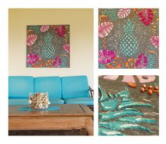 """Exotic"" Acrylique sur toile 100x100cm - Motifs en relief - Made in Tahiti"