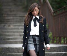 #preppy #military #look #manteau #veste #officier #chic #classy #fashionstyle #fashion #col #lavallière #fall #autumn #outfit #chic #romantic