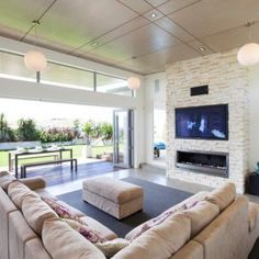 Linear Fireplace With Tv Above Design, Pictures, Remodel, Decor and Ideas