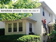 How to repair stucco on a 1920s American Foursquare house | Rather Square
