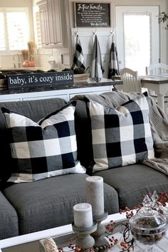 Decorating with buffalo check has never been easier- or trendier! Help keep friends and family warm and snug all season long with a trio of buffalo check shawls by the back door—and soft and plush plaid pillows on the couch. Plaid Living Room, Living Room Decor, Plaid Throw Pillows, Couch Pillows, Buffalo Check Christmas Decor, Buffalo Check Pillows, Plaid Decor, Family Room, Christmas Décor