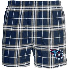 Tennessee Titans Concepts Sport Huddle Plaid Flannel Boxer Shorts - Navy/Light Blue - $19.99
