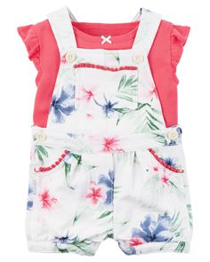 Baby Girl 2-Piece Top & Shortalls Set  Crafted in cozy French terry, these floral shortalls are made to be played in! A sweet satin bow adorns the coordinating soft cotton tee.