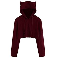 Cute Sweatshirts Hoodie Crop Tops Solid Cat Ear Long Sleeve Cropped Sweatshirt Hooded Pullover Autumn Size S Color Wine Crop Top Hoodie, Long Hoodie, Cropped Hoodie Outfit, Hoodie Sweatshirts, Hoodies, Imagine Dragons, Sweat Shirt, Cosplay, Clothes For Women