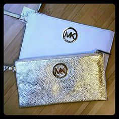 Michael Kors Gold Envelope Wristlet New with tags, excellent condition. Also selling in Vanilla color as shown. Michael Kors Bags Clutches & Wristlets