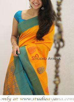 Haldi - Exquisite Kanchipuram Silk Saree from Studio Ayana! Cotton Saree Designs, Silk Saree Blouse Designs, Fancy Blouse Designs, Indian Bridal Sarees, Indian Beauty Saree, Saree Dress, Lehenga Gown, Silk Sarees Online Shopping, Sari Design