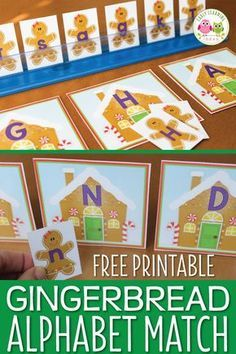 Here is a free gingerbread alphabet activity printable that is great for teaching early literacy activities in preschool, pre-k, and kindergarten. A great Christmas, holiday or gingerbread theme hands-on literacy center activity to help you teach letters Preschool Christmas Activities, Gingerbread Man Activities, Alphabet Activities, Activities For Kids, Activity Ideas, Gingerbread Men, Winter Theme For Preschool, Preschool Literacy, Preschool Lessons