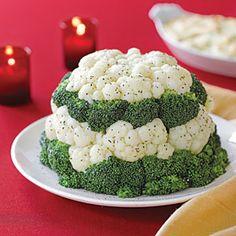 Broccoli and Cauliflower Tower Recipe | MyRecipes.com http://www.myrecipes.com/recipe/broccoli-cauliflower-tower