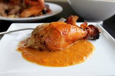 Bacon Roasted Garlic Chicken with Vegetable Puree by creolecontessa #Chicken #Bacon #Vegetable
