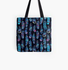 Colorful boho feather pattern, on a dark blue background. • Millions of unique designs by independent artists. Find your thing. Large Bags, Small Bags, Cotton Tote Bags, Reusable Tote Bags, Dark Blue Background, Feather Pattern, Tote Pattern, Medium Bags, Small Businesses