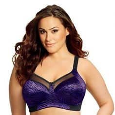 Fanstastic quality bra from Goddess. This soft cup bra is in a gorgeous purple animal print satin with four section cup which offers great support and shape.    The fine mesh top above the cups and satin mini bows on the straps and centre gore give an extra sexy touch. Its power net back and flexible side bones anchors the bra. Match with the full cut briefs for the ultimate effect. Happy shopping Angela x