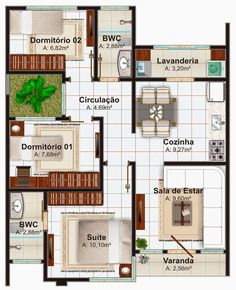 plantas casas 3 quartos com suite - Casa Goiania com 3 quartos suíte e closet escritório 2