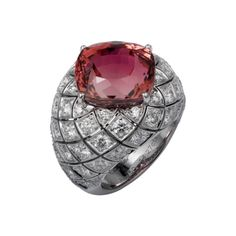 High Jewelry ring White gold, one 14.27-carat cushion-shaped rubellite, brilliants.