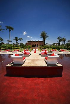 The red pool at the Murano resort hotel in Marrakesh
