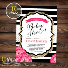 Kate spade inspired diaper cake and diaper cake minis events hot pink baby girl shower invitation modern black and white stripes gold glitter polka dots and flowers printable filmwisefo
