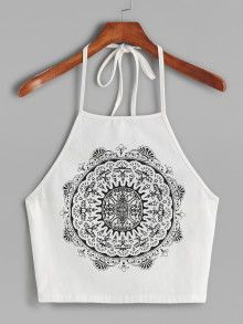 Online shopping for White Vintage Circle Print Halter Neck Cami Top from a great selection of women's fashion clothing & more at MakeMeChic. Women's Fashion Dresses, Women's Dresses, Fashion Clothes, Vintage Dresses, Vintage Outfits, Vintage Fashion, Vintage Tops, Cheap Fashion, Latest Fashion For Women