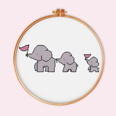 3 Elephants cross stitch pattern cute cross stitch by ThuHaDesign