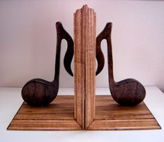 These beautiful handcrafted music note bookends are perfect for any musician or music lover and would make a great addition to any home, office