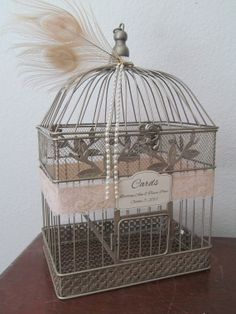 Bird Cage Wedding Card Box With Lace & Pearls by SoClassicallyChic, $68.00
