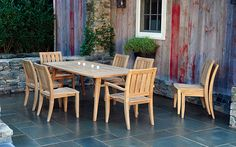 Sonoma Patio Dining Collection | Plantation teak frames | Mortis & tenon construction | 100's of Sunbrella cushion colors | Made in Indonesia