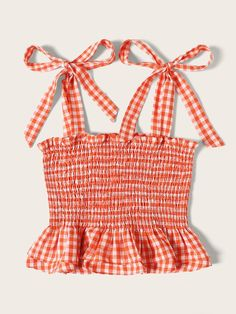 To find out about the Self Tie Shoulder Gingham Shirred Top at SHEIN, part of our latest Tank Tops & Camis ready to shop online today! Girls Fashion Clothes, Teen Fashion Outfits, Girl Outfits, Cute Comfy Outfits, Pretty Outfits, Sewing Clothes, Diy Clothes, Cute Crop Tops, Crop Top Outfits